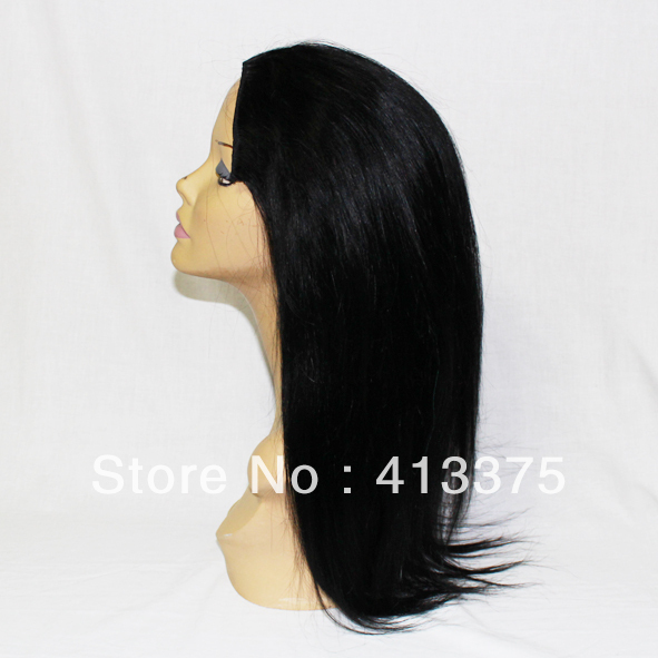 1# black color Brazilian remy hair clip in half wig 12&quot;-26&quot;, 140-210grams,silk straight, 7 clips,OEM is welcomed(China (Mainland))