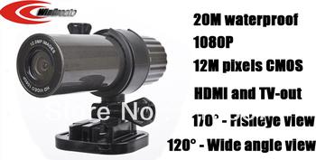 Free shipping 12M pixels CMOS 1080P sport camera Pen Style 20M Waterproof, head camera,diving camera,bike camera,mini camera
