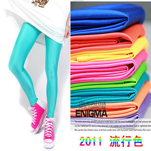 Free Shipping,New Arrive Fashion 80s Shiny Neon Metallic Electric Candy Color Tights Pants ,18 colors,2pcs/lot