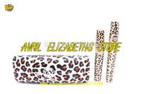 12set/lot New Love Alpha Leopard Thick Lengthening Eyelash Mascara Set Black Waterproof Mascara 12ml+3ml Free Shipping LA729