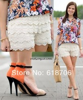 2013 crochet lace decoration shorts wave tassel elastic basic vintage high waist shorts women saias