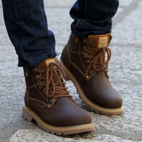 Free shipping Top quality Winter cotton-padded shoes trend male casual snow boots 100% genuine leather martin fashion boots mens