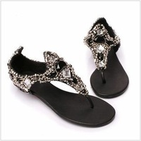 2014 new Fashion star handmade gem rhinestone lambdoid flip-flop women sandals shoes beaded flip diamond sandal