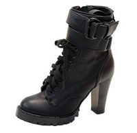2014 new Autumn and winter woman motorcycle ankle boots high heels cutout thick heel  women shoes
