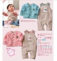 1Set,Pink&Blue 2Colors!Baby girls boys suit,jacket+rabbit suspender trousers 2pcs set,Thick sanding Kids Fashion Autumn Set