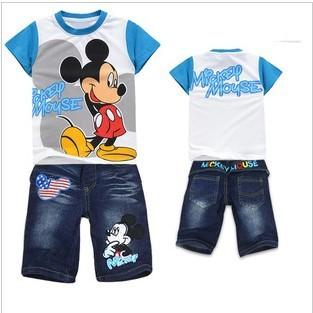 Wholesale Kids 2014 children clothing set Boys long Sleeve T shirt+ Jeans clothing suit children 's summer Clothes
