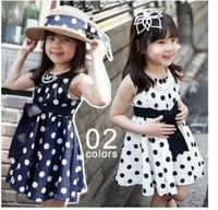 shij014 2013 new available Wholesale dot summer girl dress white navy 3~11Age kids dress children clothing