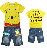 Wholesale Kids 2013 Spring and Autumn Boys T shirt+ Jeans children 's Clothes children summer clothing set