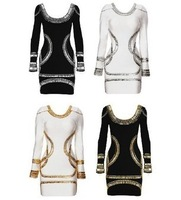 DHL/EMS Free shipping TOP QUALITY Hottest Kim Kardashian long sleeve sequin knee length fashion bandage dress cocktail dress