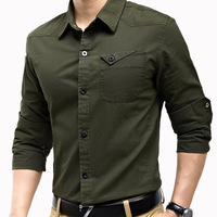 Free shipping men's leisure long sleeve shirt