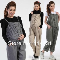 Maternity Overalls 100% Cotton 2014 Summer Pregnacy Bib pants Gravida Clothes for Pregnant Women Spring Motherhood Long Trousers