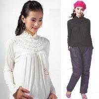 2015 Spring Female Clothing Maternity Shirt Pregnant Women Basic Tops Tees Lace Blouse Long Sleeve Cotton Tshirt Gravida Clothes