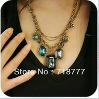 (Min Order$15)Free Shipping, Vintage Baroque Style Necklace With Blue Stones As Drops,White Insdie