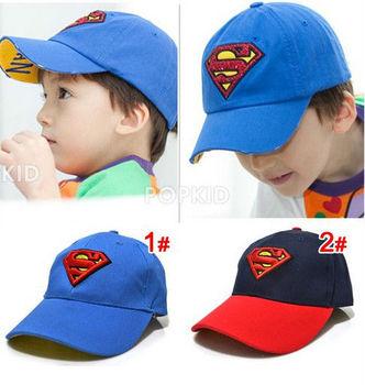 Children's Superman Returns baseball cap peaked cap,kid's sport hat cotton adjustable caps  blue and navy color