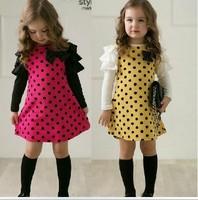 2013 New Long Layer sleeve cotton Dot dresses girls Fashion dress baby one piece fashion dress 5pcs free ship 630246J