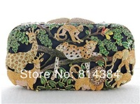 Free Shipping Animal Shape Crystal Evening Bag 2014 Fashion Zoo Inspired Retail Noble Swarovski Purse S0879