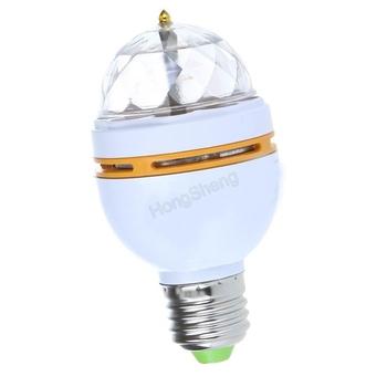2pcs/lot 3W E27 85V-265V RGB led Light bulb Crystal Rotating lamp Flash Disco Party mini laser stage