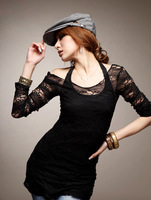 2014 Spring new fashion sexy two-piece o-neck lace long sleeve hollow out top tank blouses for women Black S M L 9417