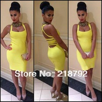 Free Shipping via DHL Hot sell fashion top quality Yellow Sexy Halter Bandage Dress