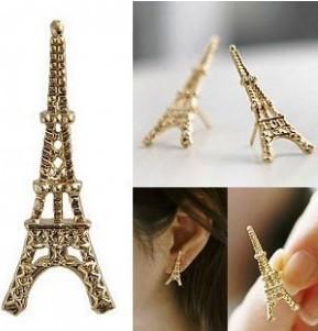 5pairs/1Lot 2014 Fashion Cute Paris Eiffel Tower Earrings Gold and Silver Color Women earring XY-E26 E27(China (Mainland))
