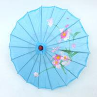 New Light blue Chinese Umbrella Parasol Japanese Asian art decoration Bamboo