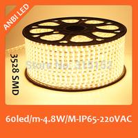 Free shipping 220V SMD LED flexible strip 100m,3528,60led/m,waterproof,IP65,warm white