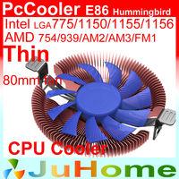 8cm fan, Ultra-thin 28mm height for 1U 2U HTPC, Ultra-Slient, Intel LGA775/115x, AMD 940/AM3/FM1/FM2 CPU cooler, PcCooler E86