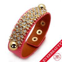 EB 2013 New Arrival Hot Sale Fashion Thick Genuine Leather Bracelet Gold Plated full rhinestone crystal charm bracelet jewelry