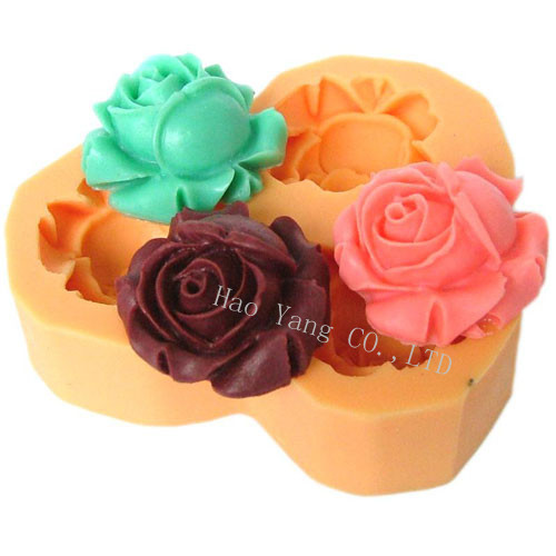 Free shipping 3d rose flower silicone soap molds mould for soap candle