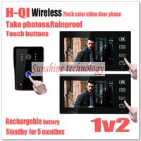 "New 7"" Wireless Color Door Phone Bell Video Handsfree Intercom Camera IR NightVision (2 monitors + 1 camera) DHL free shipping"