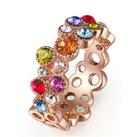 LQ Fashion Jewelry Austrian Colorful Crystal Finger Ring Hollow-out Design 20 pcs 45% off Big Sale Cheap Rrings Free Shipping