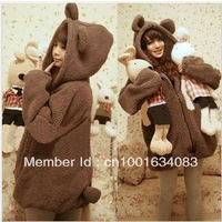 2013 New winter coat thicker plush teddy bear ears hooded cardigan sweater large size women hoodie
