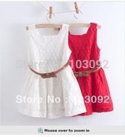 2014 New Promotion Freeshipping Sashes Solid Kidsdress Peppa D030608 New*lace Dress Kids Dresses Children Baby Girl Pcs/lot