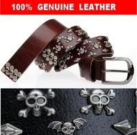 100% Genuine Leather Men Vintage Punk Skull Rivet Belt Man HipHop Jeans Belts Male Black Rivet Strap Cinto Mens Ceinture TBT0036