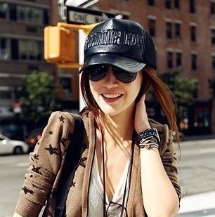 lettera in pelle maglia cappuccio nero cappello berretto da baseball estivi femminile modisteria moda sunbonnet