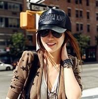 Leather letter black mesh cap baseball cap hat female summer fashion millinery sunbonnet