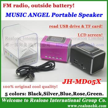 4pcs MUSIC ANGEL sound box JH-MD05X portable mini speaker support TF+USB+FM+outside battery original speaker with LCD Screen