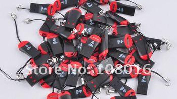 FREE SHIPPING, 100pcs/lot ,whistle USB 2.0 T-flash memory card reader/ TFcard /micro SD card reader