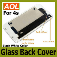 Free shipping Brand new high quality Back Glass Battery Cover Back Housing for 4 4S Black White Color 10pcs/Lot