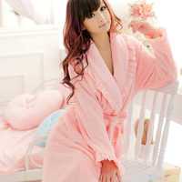 Autumn and winter quality solid color lacing thickening coral fleece robe bathrobes lounge sleepwear female