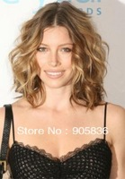 Middle part brown curly human hair lace wig
