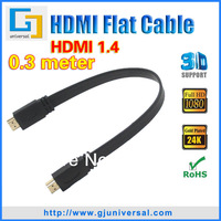 0.3M 1FT 3D HDMI Cable 1.4 HDMI Male to Male Cable 1.4 HDMI Flat Cable for LCD  HDTV  DVD  PS3