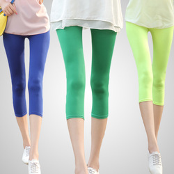 Multicolour neon leggings capris candy color elastic size tight pants Cropped Trousers leggings W3001(China (Mainland))