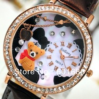 Fashion Miniature Bear Rhinestone Crystal Dress Polymer Clay Watch Leather Women Quartz Watches Lady Wristwatches Hours 2013