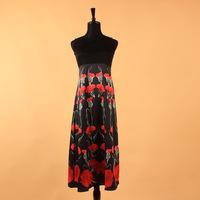 New 2013 To 2014 Fashion Runway Women Flower Print Vintage Dress With Belt