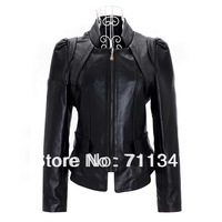 2013 genuine leather women's short design jacket black / outerwear  free shipping dropship ex-1202