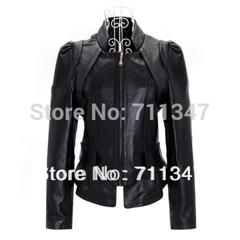 genuine leather women's short design jacket black / outerwear  free shipping dropship ex-1202