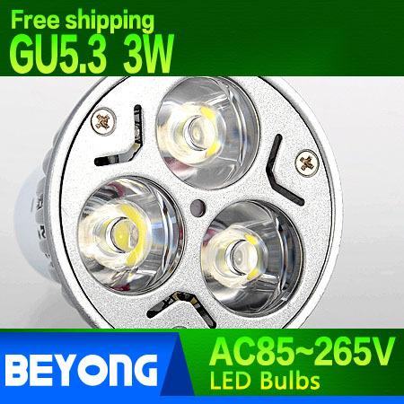 Free shipping High power led light cup GU5.3 LED spotlight bulb 3W AC85~265V cold white warm white 3W led bulbs(China (Mainland))