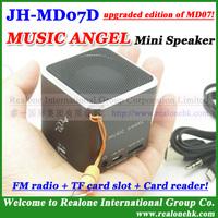 MUSIC ANGEL Mini Speaker JH-MD07D (4pcs/lot)wholesale, TF card sound box+FM+Card reader+100% original+MD07 upgraded!