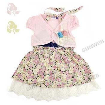 Baby Girls Kids Summer Children's Wear Short Sleeve Coat + Dresses Sets Pink/ Yellow free shipping 34